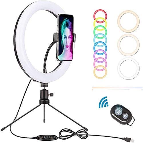 LSEEKA 10 Luz de Anillo,Acero Carbono Trípode,Selfie RGB LED Anillo Soporte y Soporte,32 Colores RGB 3 Modos iluminación para Selfie/Maquillaje Transmisión Vivo Video para Aro De Luz Movil TIK Tok