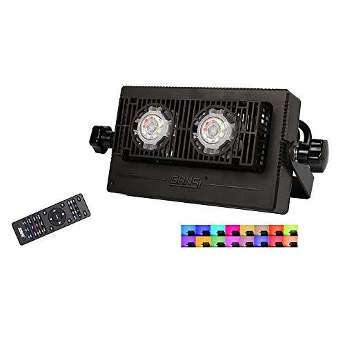 SANSI RGB schijnwerper LED met afstandsbediening 10 W, IP66 waterdicht 16 kleuren en 4 modi LED-schijnwerper met stekker, dimbare LED-schijnwerper met geheugenfunctie sfeerverlichting tuin party