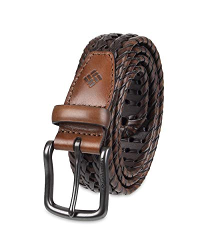 Columbia Men's Casual Leather Braided Belt, Tan, Small (30-32) Black Leather Woven Belt