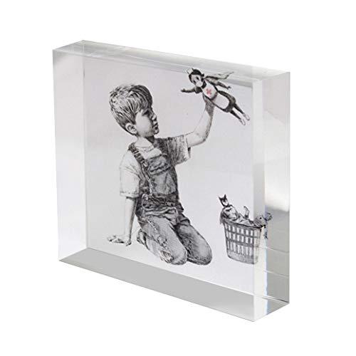 stika.co Banksy omaggio agli operatori sanitari, chiavi dell'ospedale, infermiera supereroe, foto blocco acrilico 100mm