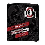 Personalized Ohio State Buckeyes Scarlet and Gray Pixel Fleece Blanket