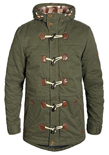 Blend Kenthon Herren Winter Jacke Parka Dufflecoat Mantel Lange Winterjacke gefüttert mit Hochabschließendem Kragen aus 100% Baumwolle, Größe:M, Farbe:Ivy Green (77086)