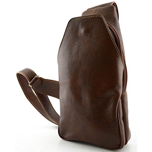 Dream Leather Bags Made in Italy Cuir VÃritable Sac à Dos Monobretelle Avec Poche Frontale Couleur Brun - Maroquinerie Fait En Italie - Sac à Dos