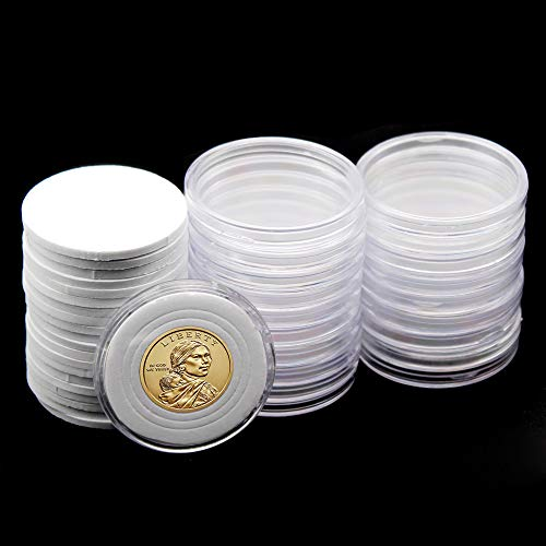 20 Pcs Clear Plastic Coin Capsules, Coin Collection Case of 5 Size with Adjustable Gasket for Coin Collection Sacagawea Native American US Dollar& Jefferson Proof 5 Cent | 16/21/26/30/36mm