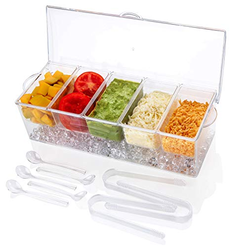 IVYHOME Ice Chilled 5 Compartment Condiment Server Caddy   Plastic Storage Food Containers   Serving Tray Container with 5 Removable Dishes Over 2 Cup Capacity Each and Hinged Lid