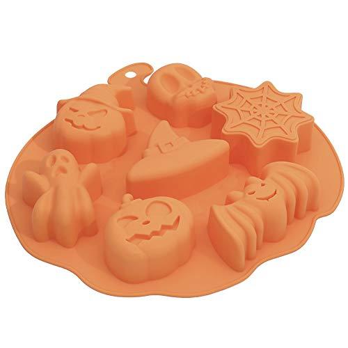ISAKEN Halloween Silicona DIY Molde, Molde de Silicona Cubitos de Hielo, Calabaza...