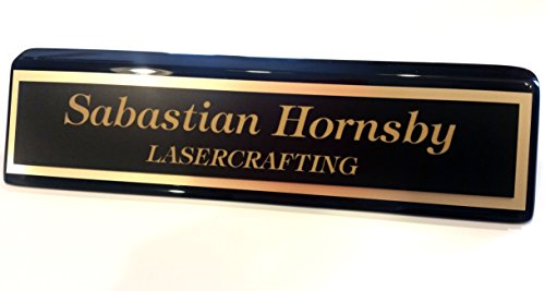 Executive Office Desk Name Plate 2x10 Black Piano Finish - Laser Engraved, Customized