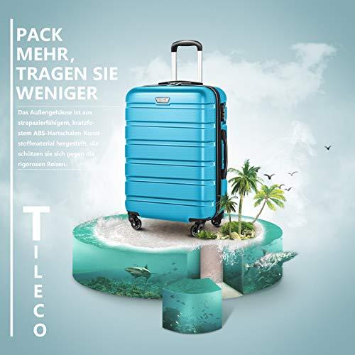 COOLIFE COOLIFE Hartschalen-Koffer Trolley Rollkoffer Reisekoffer mit TSA-Schloss und 4 Rollen (Himmel blau, Koffer-Set)