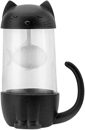 Preisvergleich Produktbild Katzen Glas Tee Becher Wasser Flasche mit Fisch Tee Infuser Sieb Filter 280ML 10.5 * 7.1 * 15.4cm (Schwarz)