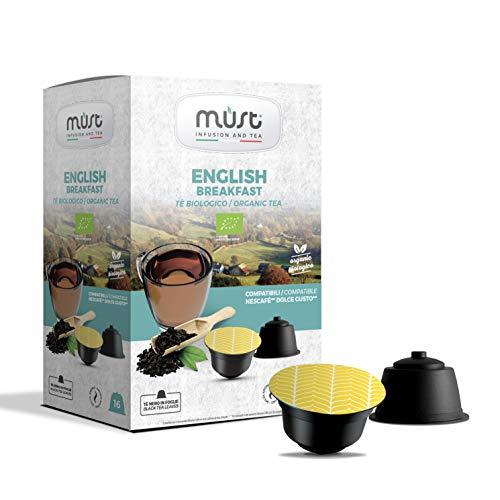 MUST 96 Cápsulas TEA ENGLISH BREAKFAST BIO en Plástico 100% Reciclable ENGLISH BREAKFAST BIO Paquete de 16 Cápsulas para 6 Paquetes Compatible con la Máquina Dolce Gusto Made in Italy