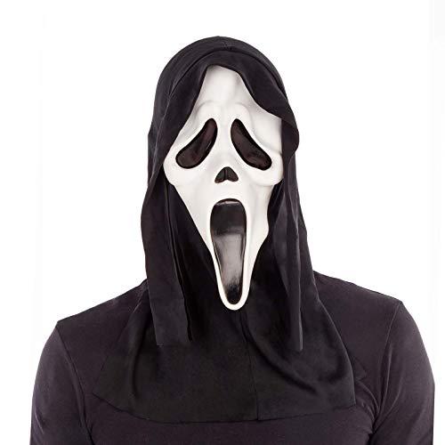 Máscara de scream con capucha de Halloween blanca de látex y tela talla única - LOLAhome