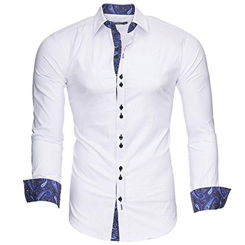 Kayhan Hombre Camisa Royal Paisley White/Navy (L)