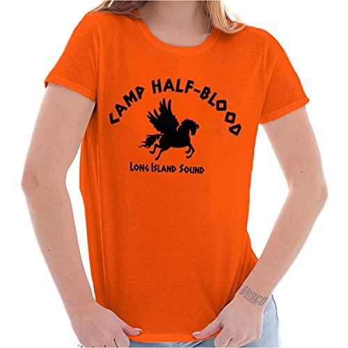 Brisco Brands Camp Half Blood Greek Mythology Womens T Shirt Ladies Tee Orange