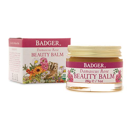 Badger - Damascus Rose Beauty Balm, Intensive Nourishment, Face Neck & Eye Balm, Certified Organic Beauty Balm, Moisturizer Face Balm, 1 oz Glass Jar