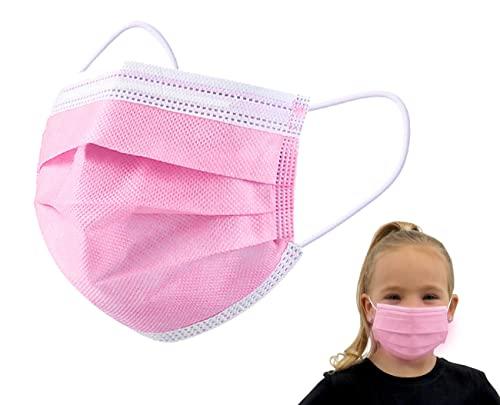 iCOOLIO op masken kinder, kindermasken medizinisch, medizinischer mundschutz, medizinische maske ce zertifiziert, mund nasen schutzmaske, gesichtsmaske, einwegmasken mädchen 50 Stück Rosa