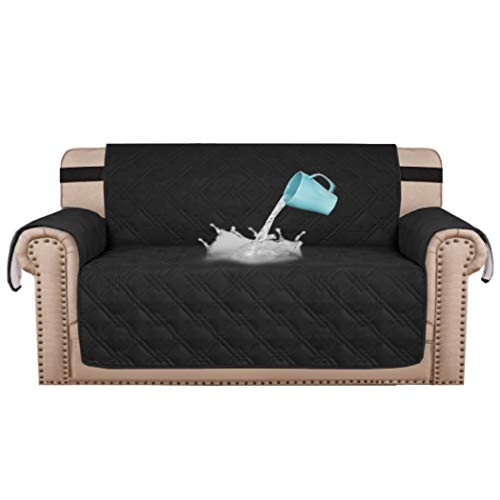 Waterproof Couch Covers for 3 Cushion Couch Soft Quilted Furniture Sofa Covers for Living Room Non Slip Sofa Covers for Dogs, Seat Width Up to 68' Furniture Protector, Black
