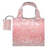 Bolsa Lienzo Abstracto Coral Rosa Melocotón Color Salmón Bolsa Plegable Reutilizable Reutilizable Plegable Bolsas de Supermercado Poliéster Bolsas Reutilizables de Compras, Lavable, Durable y Ligera
