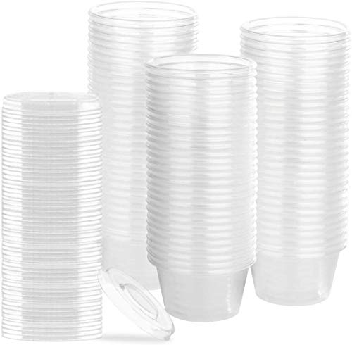 PlastX 2 Oz Cups with Airtight Lids 200 Sets, Clear, Stackable, Portion Control Cups, Souffle Cups, Condiments Sauce Container, Great for Jello Shots, Slime Cup, Food Sampling Cup, Meal Prep,