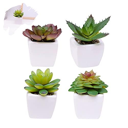 LITLANDSTAR Künstliche Topf-Sukkulenten, 4er-Set Mini-Künstliche Pflanzen Grüne Sukkulenten Gefälschte Sukkulenten Kleine Pflanzen in quadratischen weißen Keramiktöpfen für die Heimdekoration