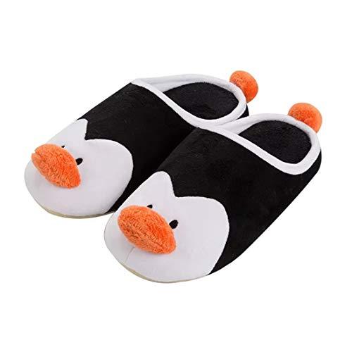 maiqu1983 Weiblich Herbst und Winter Pinguin Baumwolle Hausschuhe Pantoffeln Schuhe Warm halten Süß Cartoon (EUR 39-40/UK 6-6.5/US 7-7.5)