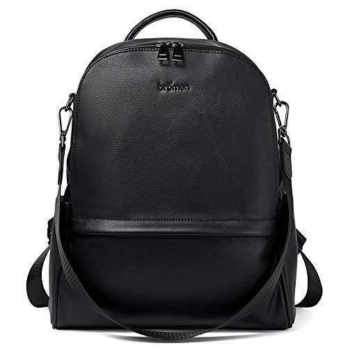 BROMEN Backpack Purse for Women Leather Anti-theft Travel Backpack Fashion College Shoulder Handbag Black