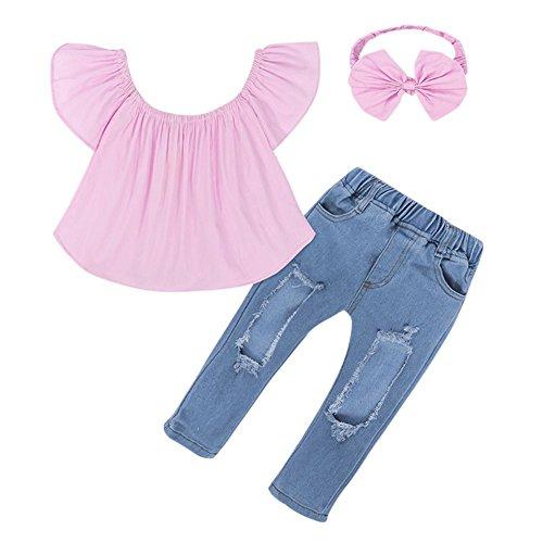 BOBORA Vetements Bébé Filles Enfants Chemise Crop à épaules Dénudées + + Hole Jeans Pantalon + Bandeau