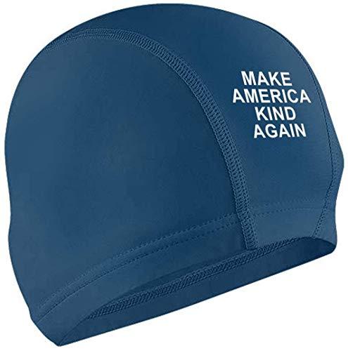 OPLKJ Cuffia da Nuoto Make America Kind Again Adult Waterproof No-Slip Short And Length Hair Swimming cap for Woman And Men Black