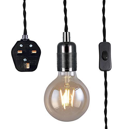Lámpara colgante con enchufe, estilo vintage, portalámparas E27, cable trenzado trenzado de 3500 mm con interruptor, .