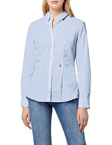 Seidensticker Damska bluzka z długim rękawem, krój slim fit, wzorzyste, bez konieczności prasowania, jasnoniebieski karo, 36