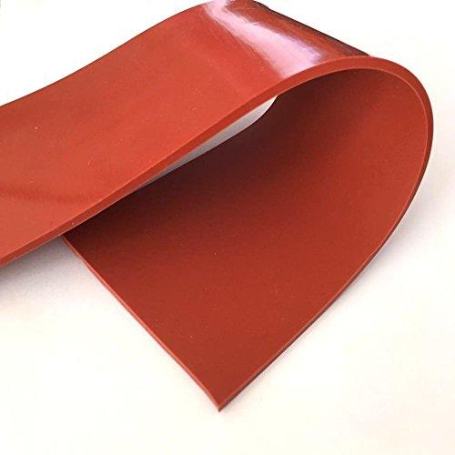 Lámina de goma de silicona de alta temperatura, roja, durómetro de 60A, sin refuerzo
