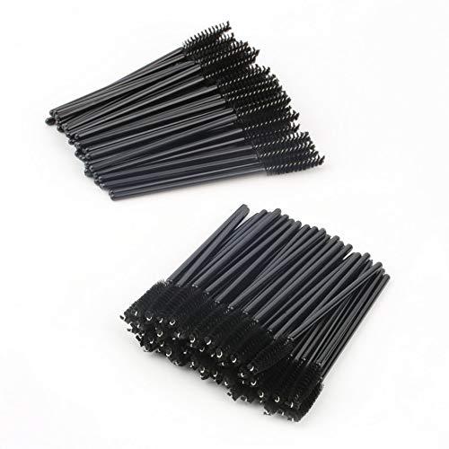 aixu 100 PCS jetables Cils Mini Brosse Mascara Baguettes applicateur Maquillage Noir