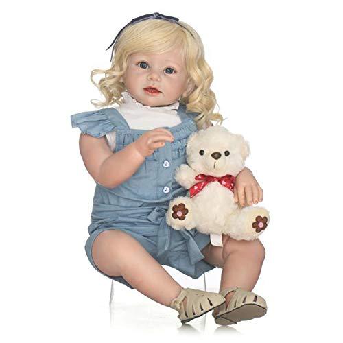 Yeah-hhi 70Cm Reborn Babypuppe Simulation Look Echte Lachende Realistische Gewichtete Baby Mädchen Puppe Mit Bärpuppe Für Kind Spielzeug Geschenk