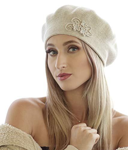 Women\'s Beret Hat GLORIA_05 | Beige | Double Layer | Universal Size | Wool | Acrylic | Elegant | Warm | Autumn | Winter | Spring | Soft Material