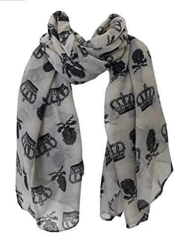 Pamper Yourself Now Beige mit schwarzen Schädel und Krone design Schal/Packung -Beige with black skull & Crown