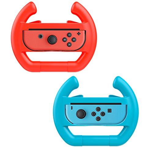 MoKo Steering Wheel for Nintendo Switch, [2 Pack] Switch Steering Wheel Controller Handle for Switch Joy-con Mario Kart Game (Blue & Red)