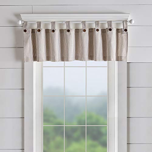 "Elrene Home Fashions Tucker Ticking Stripe Window Curtain Kitchen Valance, 60"" W x 15"" L (1, Linen"