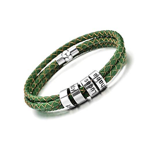 Pulsera de cuero personalizada Pulsera de cuerda trenzada personalizada con 1-9 nombres Pulsera para hombres novio padre esposo