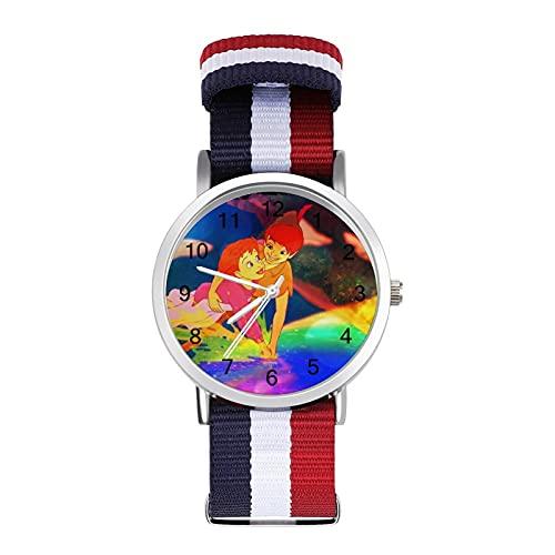 Peter Pan - Reloj de ocio para adultos con escamas trenzadas ajustables y elegantes espejos de cristal de 1.6 pulgadas para hombres y mujeres