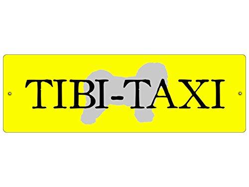 Interluxe KUNSTSTOFFSCHILD Autoschild Saugnäpfe Tibi Taxi *GELB* Tibet Terrier Hundeschild