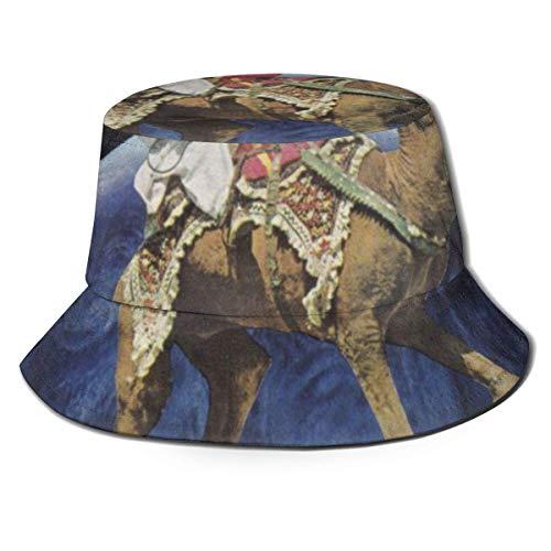 Zhengzho Flat Top atmungsaktive Eimer Hüte Kappe Unisex tanzende Kamel Sonnenhut Sommer Fischerhut