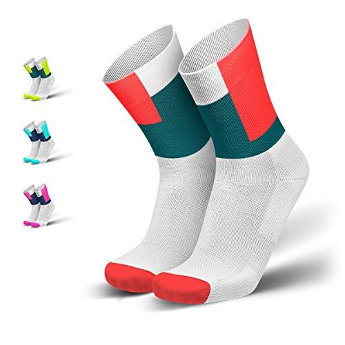 INCYLENCE Squares gepolsterte Laufsocken lang, Running-Socks, atmungsaktive Sportsocken mit Blasenschutz, Kompressionsstrümpfe, weiß, petrol, neon-rot, 39-42