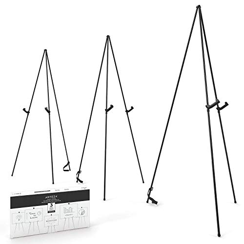 Arteza Caballete expositor metálico | Altura 160 cm | Pack de 3 | Acero negro | Atril portátil | Fácil de montar | Ideal para presentaciones comerciales, carteles, exhibiciones y lienzos