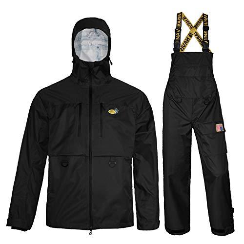 Navis Marine Fishing Jacket with Bib Pants Waterproof Men Women Rain Suits Breathable Durable (Charcoal, Medium)