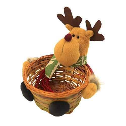 Titular De Caramelo De La Navidad La Cesta De Mimbre De Bambú Tejido De La Cesta Contenedores De Almacenamiento De Navidad Canasta De Almacenamiento para El Hogar