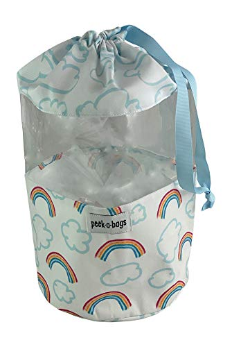 Toy Storage Bag for Organization & Storage for Kid's with Unique Colorful Drawstring Toy Bag. PEEK-A-BAGS for a Cute Gift Bag, Baby Shower, Baby Toys, Legos, Blocks, Books, Diaper Bag and Stroller.
