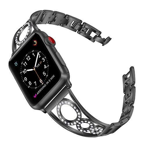 AmzAokay Bling Bands Compatible Apple Watch Band 38mm 40mm 44mm 42mm Series 5 Women iWatch Series 4/3/2/1, Diamond Cuff Bangle Bracelet Stainless Metal Replacement Wristband Strap (Black, 42mm/44mm)