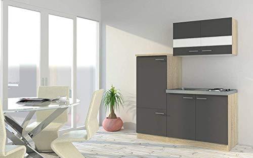 respekta Küche Miniküche Singleküche Küchenzeile Einbau Küchenblock 160 cm Eiche Sonoma Nachbildung Grau