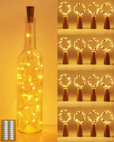 (16 pezzi) Luci per Bottiglia, kolpop Tappi LED a Batteria per Bottiglie, 2M 20LED Filo d'argento Led Decorative Stringa Luci da Interni e Esterni per Festa Giardino Natalizie Matrimonio(Bianco Caldo)
