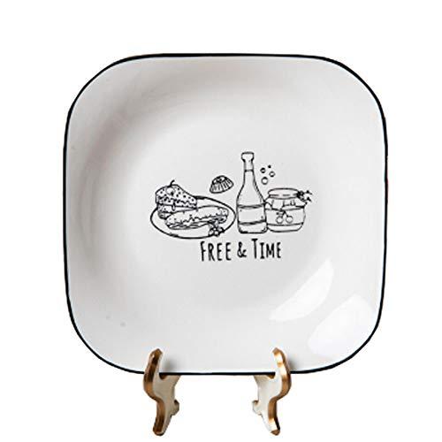 MIAO. Placa de cerámica Placa de cerámica del hogar Vajilla Plato Cuadrado Plato Plato de Arroz Set / 4 Piezas de 8 Pulgadas,8inches