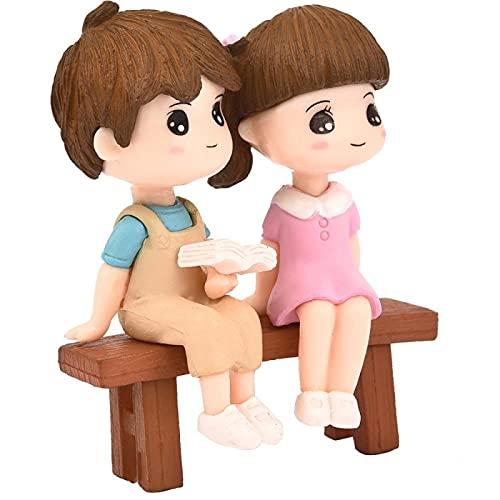 GJZEYBJE Figuras en Miniatura Silla Libro Amante Pareja Mini Jardín de Hadas Adorno Pareja Figuras de Regalo
